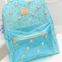 Blue Lace Backpack with Golden Rivets RVF753 from topsales