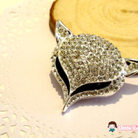 1 pc 53mm Bling Silver Crystal Large Fox Head Luxury Alloy 3D Charm Craft Art DIY Cell Phone Case Cabochon deco DCR