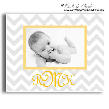 Personalized Childrens' Name Plaque, Yellow & Grey Chevron, Photo Plaque , Monogrammed gifts, Baby gift, Modern Nursery, Personalized Baby'
