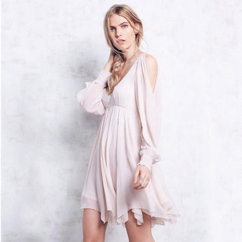 Long Raglan Sleeve Off Shoulder Chiffon Dress