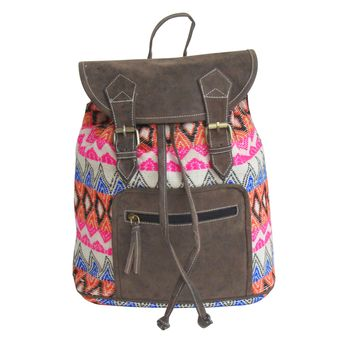 Jacquard and distressed look BACKPACK with Faux Leather: SUMMER SALE