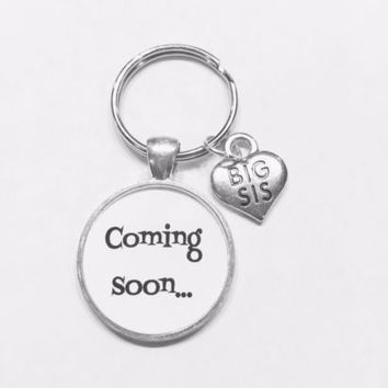 Coming Soon Big Sis Gift For New Big Sister To Be Baby Shower Keychain