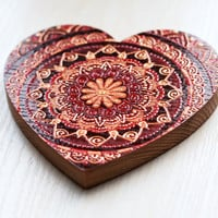 Hand painted wooden heart, indian mandala, gift for her or gift for him, Valentines, Valentines day card