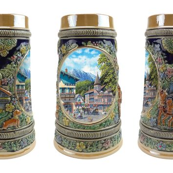 German Summer .5 Liter Embossed Ceramic Stein