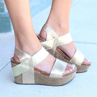 Hester Metallic Wedge Sandal {Gold} - Size 10