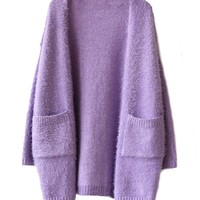 Pure Color Long Mohair Cardigan