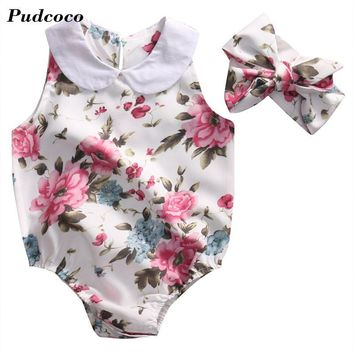 Peter Pan Collar 2017 Newborn Baby Girls 2PCS Romper &Headband Floral Romper Jumpsuit Sunsuit Outfit Clothes Drop Shipping