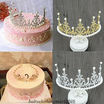 US Cake Topper Decor Tiara Crown Kid Birthday Party Gift Baby Girl Hairband