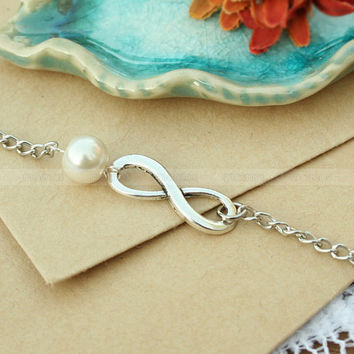 Bridesmaid gift,best friend Infinity bracelet with card-Infinite love bracelet,Infinity Pearl bracelet,gift to mom,thanks mom jewelry