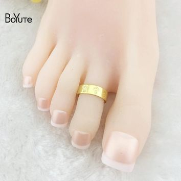 BoYuTe 5Pcs Fashion Women Foot Jewelry Metal Brass Bee Carved Adjustable Silver Gold Toe Ring
