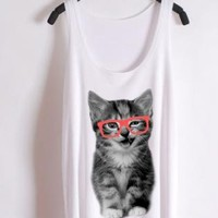 Nerdy cat -red glasses--the tank