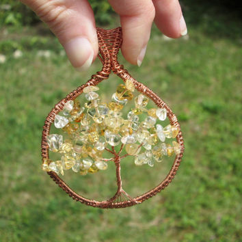 citrine  tree of life pendant,citrine necklace,wire wrapped tree of life pendant,citrine copper pendant,family tree,wire tree of life,reiki