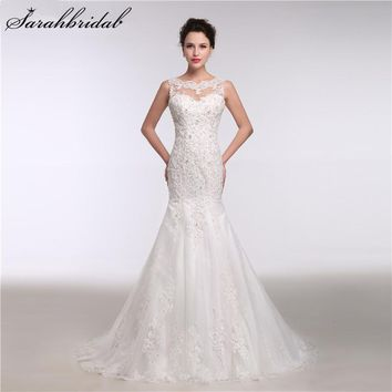 Sexy Sheer Mermaid Wedding Dresses Beaded Sequins Church Bridal Gowns for Women Custom Made Real Sample Vestido De Noiva GT18