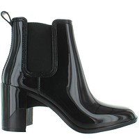 Jeffrey Campbell Hurricane - Black Shiny Rubber Pull-On Rain Boot