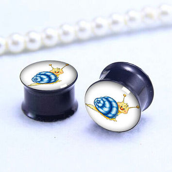 Blue Snail Cartoon ear Plug  ,cute animal pricing body jewerly , Screw on Gauge ear plugs , Black Titanium ear plugs ,