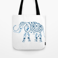 Floral Elephant Tote Bag by Knm Designs