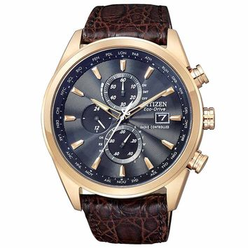 Citizen AT8013-17E Men's Limited Edition World Chronograph A-T Black Dial Leather Strap Dive Watch
