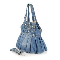 Stylish Women's Shoulder Bag With Dress Shape and Denim Design