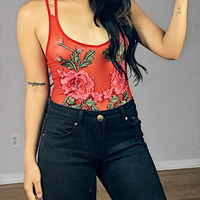 Catalina Mesh Floral Embroidered Bodysuit (Red)