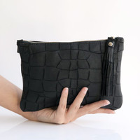 Black leather clutch - Crossbody purse - Evening clutch - Shoulder purse - Soft leather - laser cut leather bag