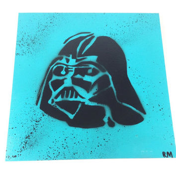 Spray Paint Stencil Art on Canvas Covered Board, Wall Art for Teen Boys, Darth Vader Star Wars Inspired Graffiti Painting