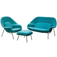 Vintage Saarinen for Knoll Womb Suite with Chair, Ottoman and Settee