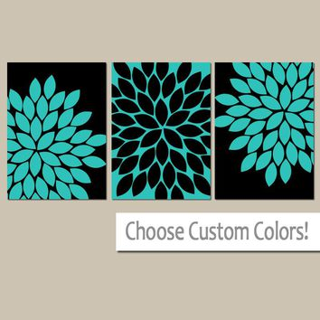 Turquoise Flower Wall Art, Flower Bedroom Pictures, CANVAS or Prints, Turquoise Black BATHROOM Decor, Set of 3, Turquoise Wall Decor