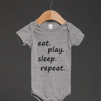 eat play sleep repeat baby one-piece - glamfoxx.com - Skreened T-shirts, Organic Shirts, Hoodies, Kids Tees, Baby One-Pieces and Tote Bags