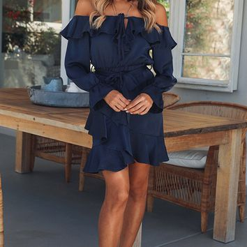 Fall to Rise Satin Off the Shoulder Ruffled Long Sleeve Tiered Mini Dress - 2 Colors Available