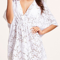 White Floral Lace Beach Cover-Up