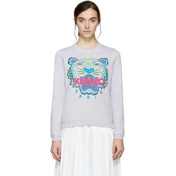One-nice™ Kenzo Women Tiger Embroidery Long Sleeve Top Sweater Pullover