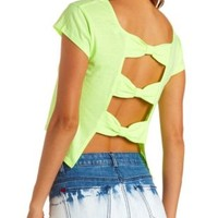 Triple Bow-Back Short Sleeve Crop Top by Charlotte Russe - Neon