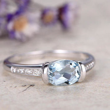 1.6ct Oval Aquamarine engagement ring and diamond,Solid 14k White gold promise ring for her,custom made fine jewelry,art desc unique ring