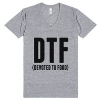 Dtf - Devoted To Food V-neck T-shirt-Unisex Athletic Grey T-Shirt