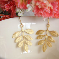 Gold leaf earrings. Gold branch earrings. Woodland earrings. Long gold earrings