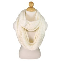 Premium Winter Thick Infinity Twist Cable Knit Scarf, CREAM OR IVORY