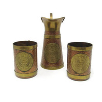 Vintage Copper and Brass Pitcher and Tankards with Relief Medallion of Mayan / Aztec Calendar and Mayan / Aztec God / Vintage Barware