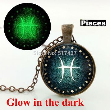 Glow in the dark jewelry Pisces Necklace