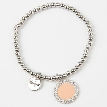Nude Stone And Crystal Embellished Pendant Chain Bracelet