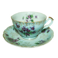 Hand Painted Lefton China Teacup and Saucer, Teacup Set, Blue and Gold China, Lefton Tea Cup