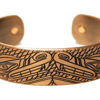 Wolves Copper Plated Cuff Bracelet by Andrew Williams, Haida