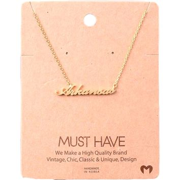 Must Have-State of Arkansas Necklace, Gold