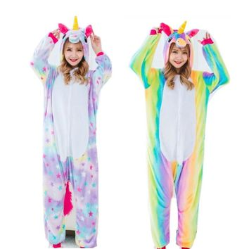 Rainbow and Star Unicorn Adult Flannel Costume Little Pony Cosplay Onesuit Pajamas Jumpsuit for Halloween Christmas Party