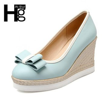 HEE GRAND Women's Pumps Wedge Platform Cute Butterfly-knot Shoes Woman High Heels Closed Toe Shoes for Work Ladies WXG437