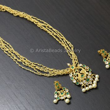 Emerald Polki Chain Necklace Set