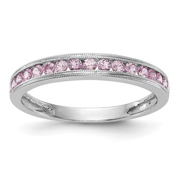 14k White Gold Pink Sapphire Channel Set Anniversary Band