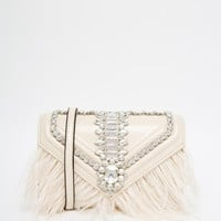 ALDO Clutch Bag with Stone & Feather Detailing at asos.com