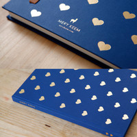 FREE SHIPPING -Heart Gold Foil Journal/Notebook in Navy Background