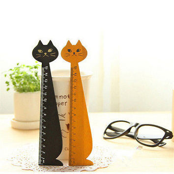 Black Korea Kawaii Cat Kitty Face Stationery Wood Ruler Sewing Ruler