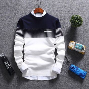 Long Sleeve Mens Casual Autumn Sweaters Patchwork Color Pullover Crew Neck Long Sleeve Sweaters Men Casual Clothes